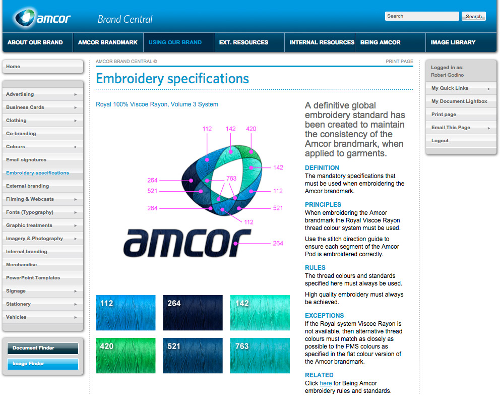Amcor Embroidery Page