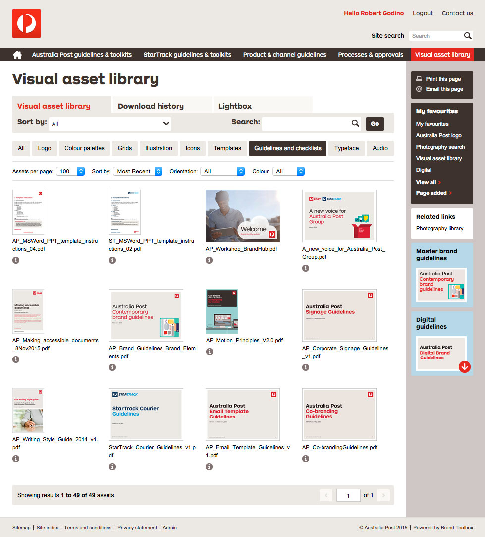 Auspost Visual Asset Library Page