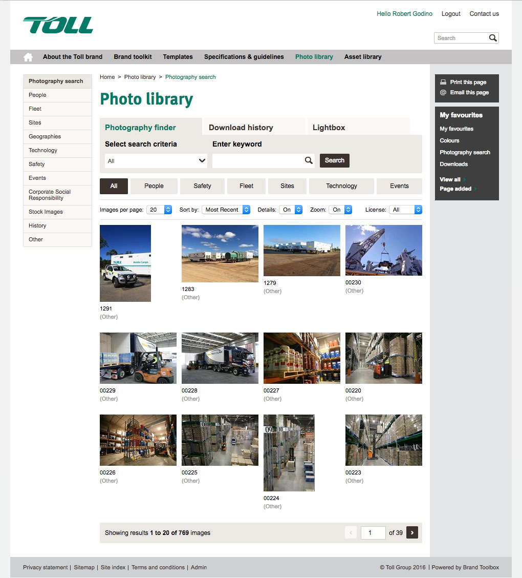 Toll Photo Library Page