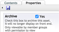 Asset Archive checkbox