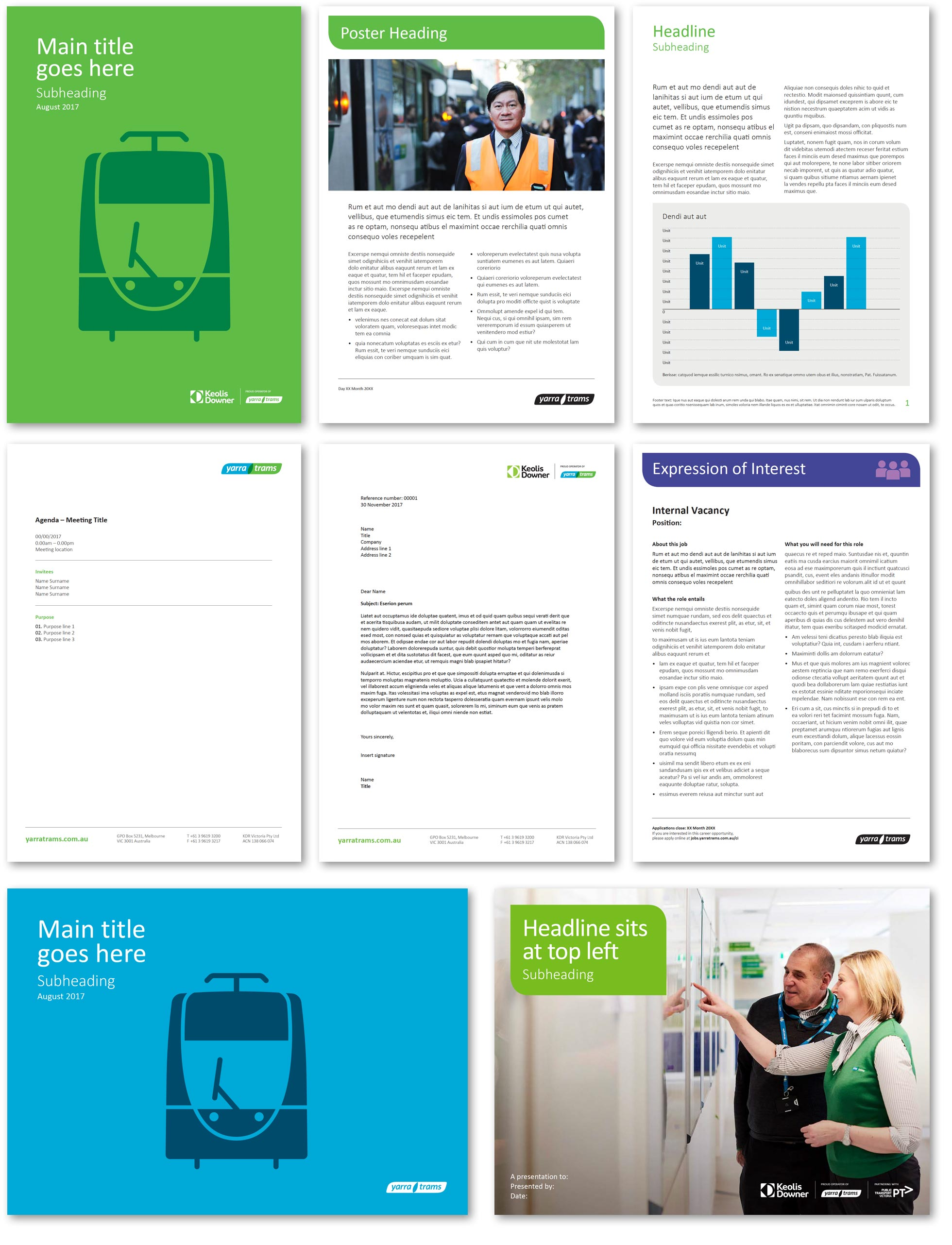 Yarra Trams and Keolis Downer Corporate Templates