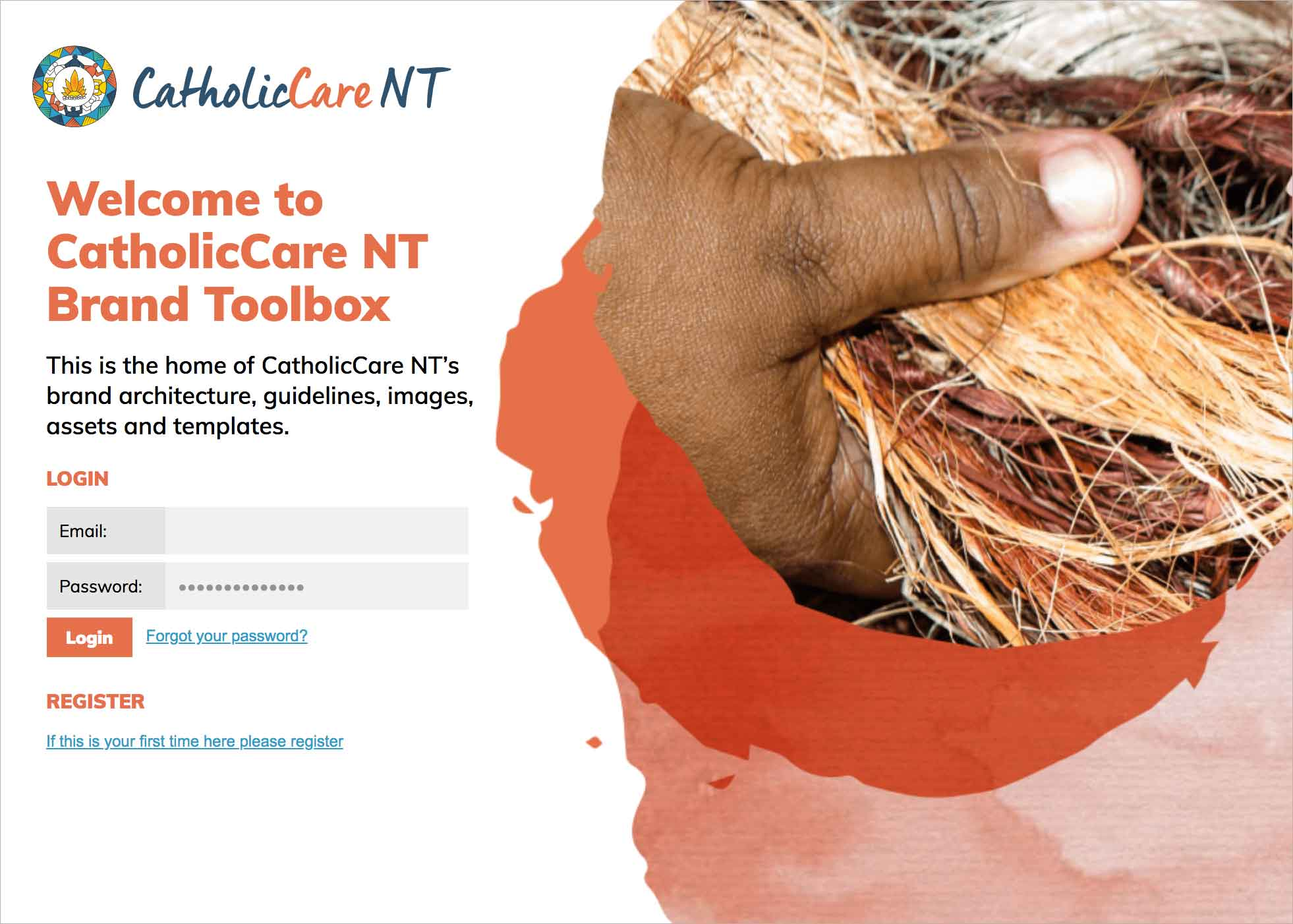 CatholicCare NT Login screen