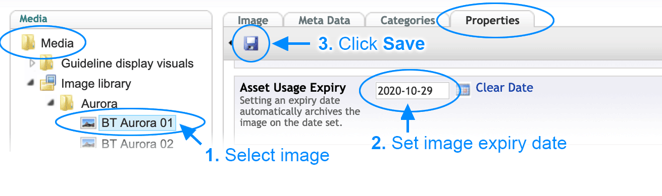 Set image expiry and usage restrictions