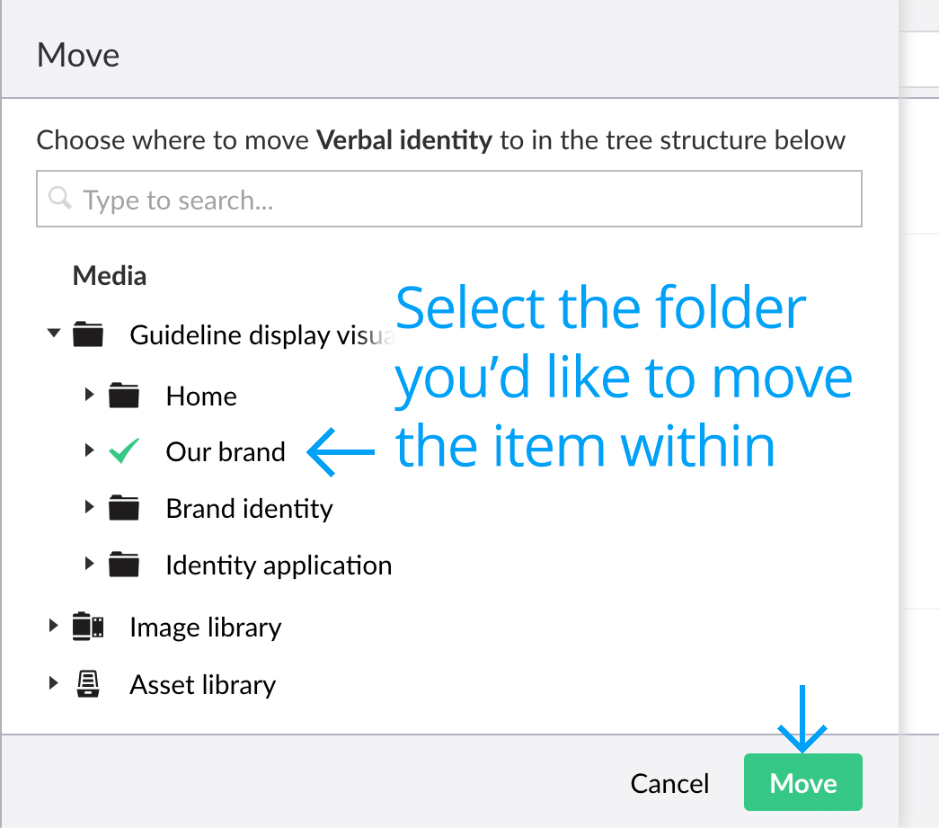 Moving a folder selection screen