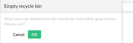 Empty Recycle Bin confirmation