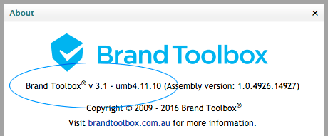 About Brand Toolbox version number