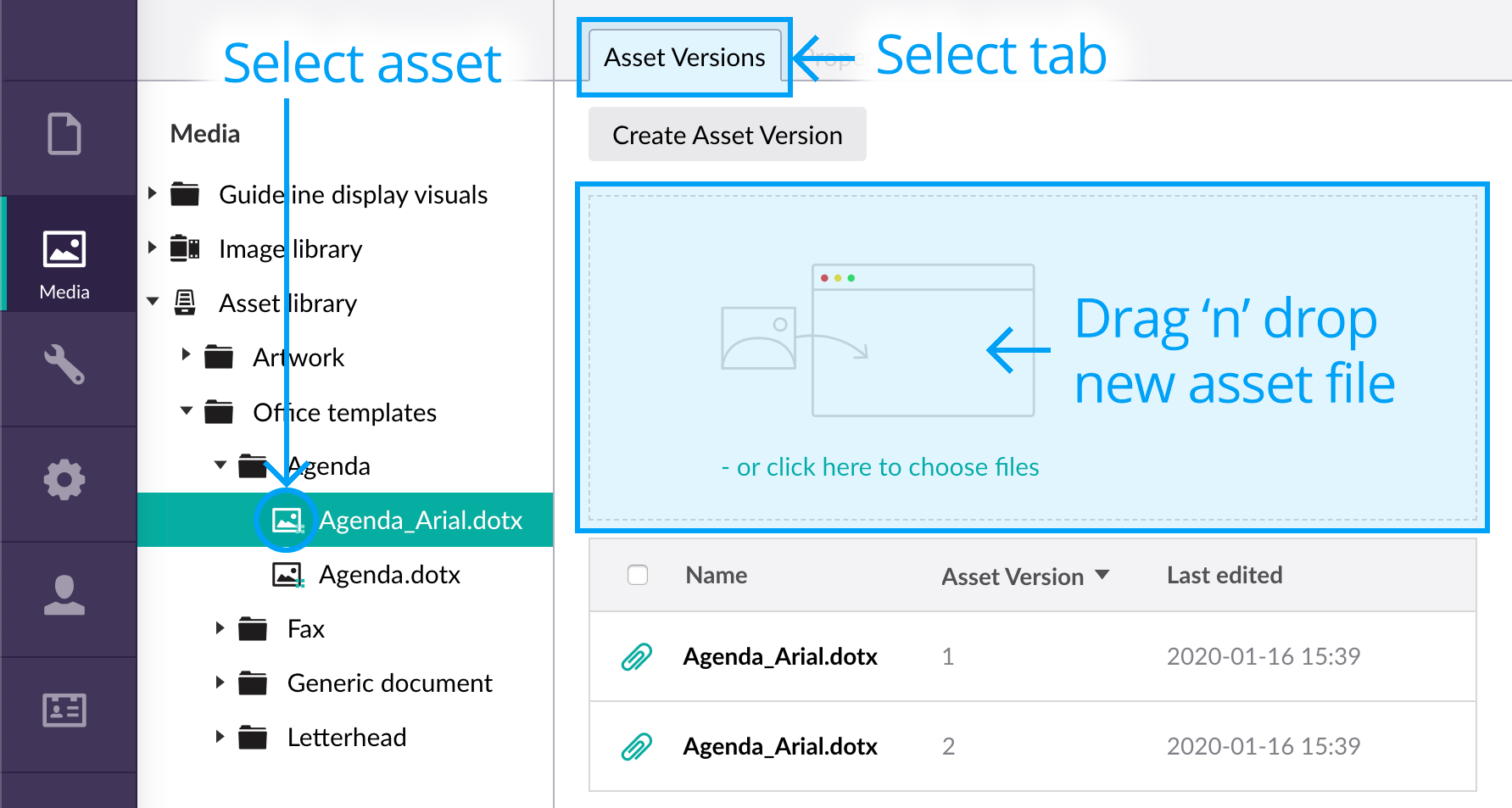 Drag and drop new asset into the asset versions upload area