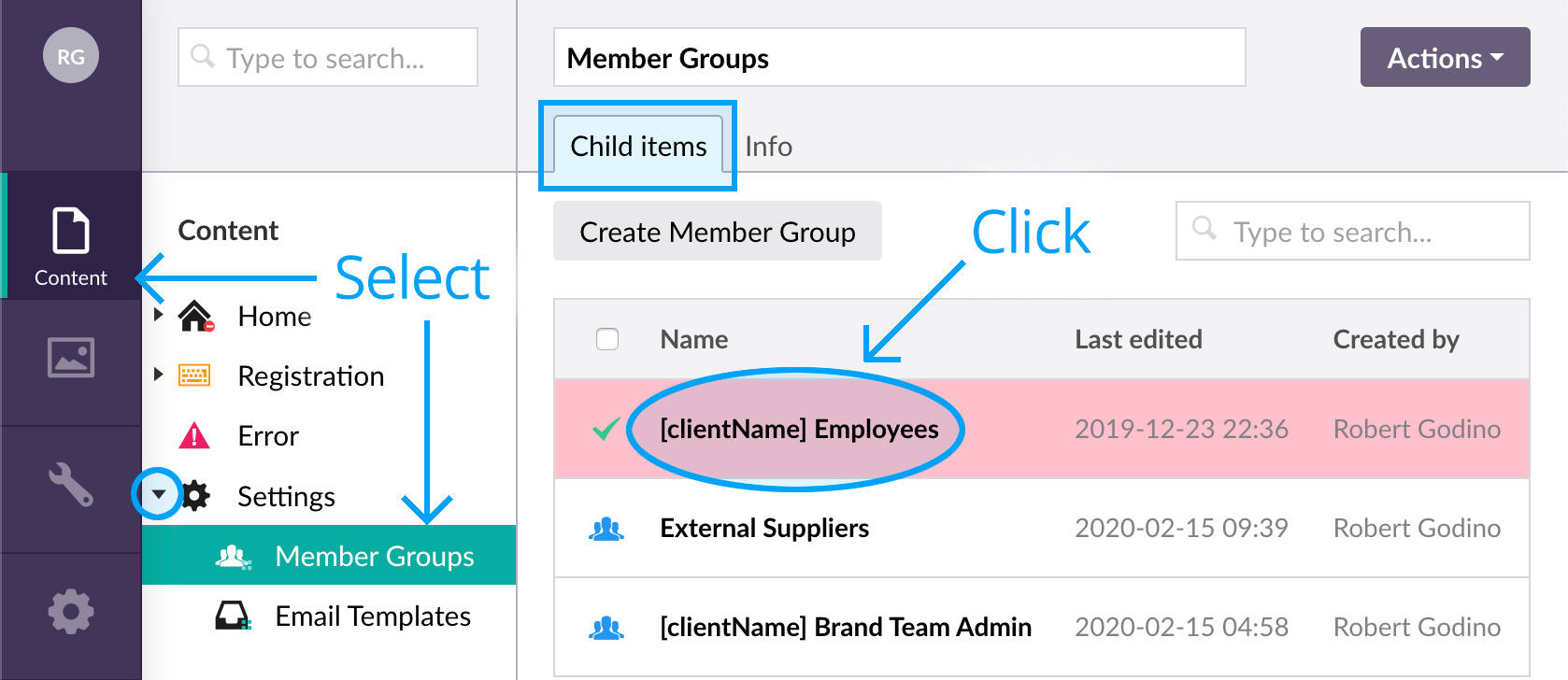 SSO mapping Brand Toolbox Member Groups to Azure AD identity names - Choose group