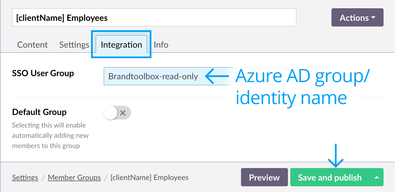 SSO mapping Brand Toolbox Member Groups to Azure AD identity names - Enter Azure identity name